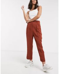 Weekday Ritz Drapy Trousers - Brown