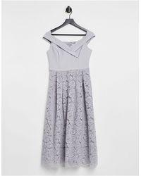 Oasis Bridesmaids Bardot Dress - Grey