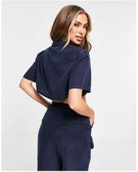 ASOS Soft Boxy Cropped Shirt Set - Blue