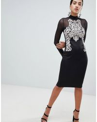 AX Paris - Long Sleeve Bodycon Dress With Contrast Lace Detail - Lyst