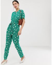 Pieces Elli Floral Print Wide Leg Jumpsuit - Green