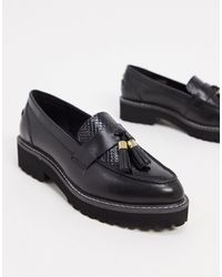 Dune Golding Leather Chunky Loafers - Black