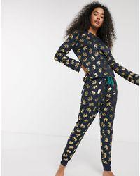 Chelsea Peers – Schlafanzug mit Oberteil und Jogginghose mit Folien-Elefantenmuster - Blau