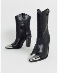 Bronx Leather Western Boots With Metal Toe Cap - Black