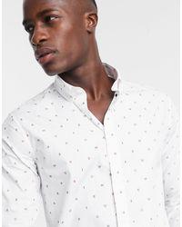 Emporio Armani - Белая Рубашка Со Сплошным Микропринтом -белый - Lyst
