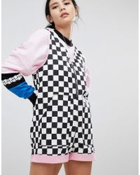 Lazy Oaf Playsuit In Checkerboard - Black