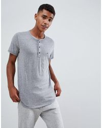 Hollister - Solid Henley T-shirt Seagull Logo Slim Fit In Grey Marl - Lyst