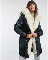 River Island Faux-leather Quilted Parka - Black