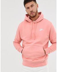 Nike Sudadera con capucha y logo en rosa Club