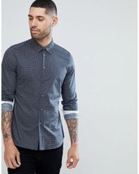 PS by Paul Smith | Slim Fit Micro Geo Shirt In Navy | Lyst