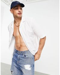 Ban.do Rudie Short Sleeve Seersucker Revere Collar Shirt - White