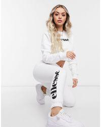 Ellesse Plus – Set mit kurz geschnittenem Pullover und Jogginghose - Weiß
