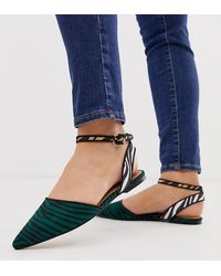 ASOS Wide Fit Valuate Pointed Ballet Flats In Zebra Mix - Blue