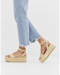 Pimkie Woven Straw Flatform Sandals - Natural