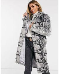 Lavish Alice Oversized Collar Faux Fur Coat - Gray