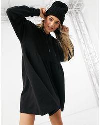 Monki Malin - Robe courte à capuche en coton biologique - Noir