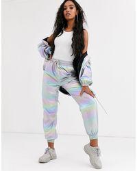 Sixth June Pantaloni della tuta sportiva arcobaleno metallizzato con fondo aderente - Multicolore