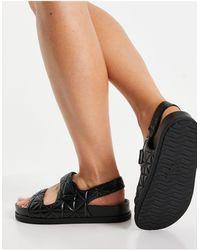 Pull&Bear Quilted Grandad Sandal - Black