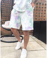 ASOS Pantaloncini comodi lavaggio tie-dye - Multicolore