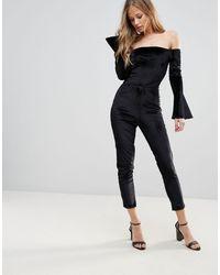 Oh My Love Off The Shoulder Flute Sleeve Jumpsuit - Black