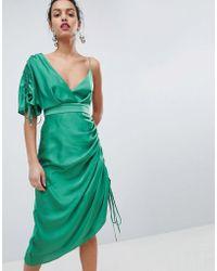 Keepsake - Asymmetric Shoulder Midi Dress - Lyst