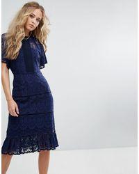 Foxiedox Lace Panel Midi Dress - Blue