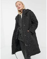 Monki Quilted Hooded Midi Coat - Black