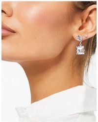 Krystal London Krystal Swarovski Square Drop Crystal Earrings - Metallic