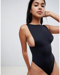 ASOS Thick Strap Bonded Body With Thong Back - Black