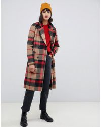 Pieces - Double Breasted Check Coat - Lyst