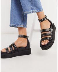 LAMODA Creeper Sandals With Stud Detail - Black