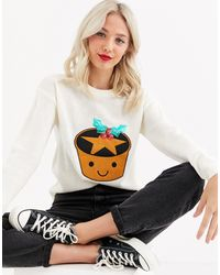 Brave Soul Mince Pie Christmas Sweater With Sequin Detail - Natural