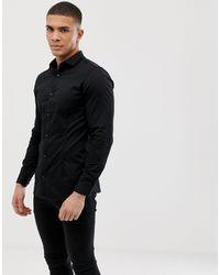 Jack & Jones Черная Приталенная Эластичная Рубашка В Строгом Стиле Premium-черный