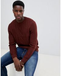 New Look - Cable Knit Jumper In Rust - Lyst
