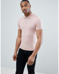 ASOS - Design Knitted Polo T-shirt In Dusty Pink - Lyst