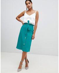 Vesper Button Front And Tie Waist Pencil Skirt - Green