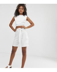 Missguided Co-ord Ribbed Shorts In White