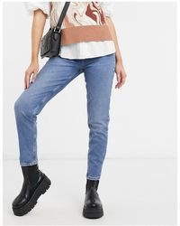 Pieces Cleah High Waisted Mom Jeans - Blue