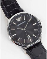 Emporio Armani Часы С Черным Кожаным Ремешком Ar11186-черный Цвет
