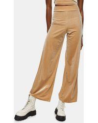 TOPSHOP Velour Wide Leg Trousers - Natural