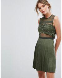 Three Floor - Mini Dress With Pleated Satin Skirt - Lyst