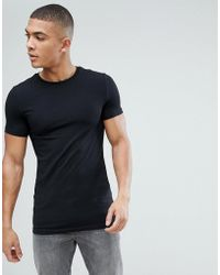 ASOS - Longline Muscle T-shirt With Crew Neck In Black - Lyst