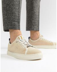 Ted Baker - Kaliix Mesh Suede Trainers In Beige - Lyst