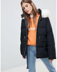 c2a2397ea Puffer Jacket With Waist Detail And Faux Fur Hood - Black