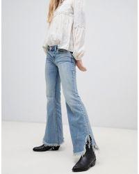 Free People Vintage Raw Hem Flared Jeans - Blue