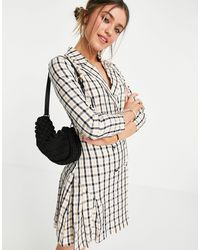 Lola May Double Breasted Blazer Mini Dress - Multicolour
