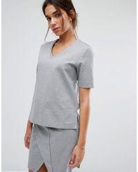 SELECTED Femme V Neck Sweat - Gray
