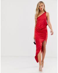ASOS Атласное Драпированное Платье Миди На Одно Плечо - Красный