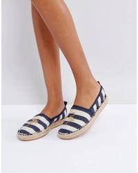 Bershka - Stripe Palm Espadrille Shoe - Lyst