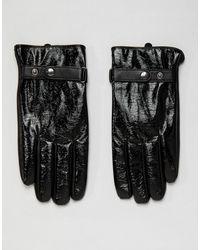 ASOS Touchscreen-Handschuhe aus schwarzem Leder in Vinyloptik